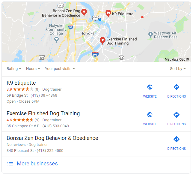Google search for dog trainers near me