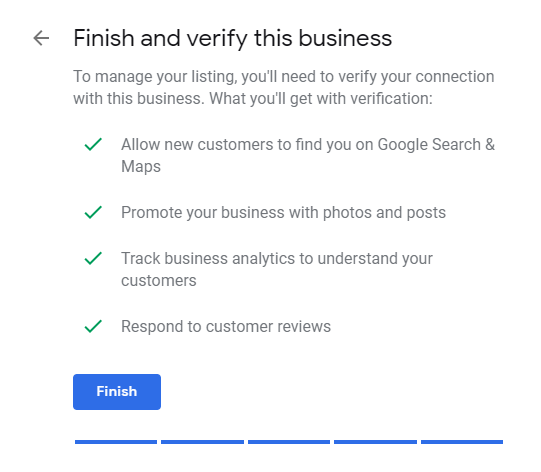 Google My Business finish and verify