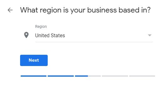Google My Business region