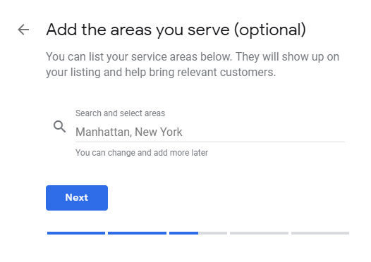 Google My Business service locations