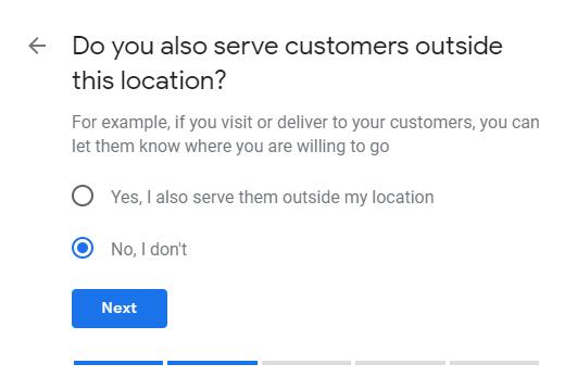 Google My Business no service area