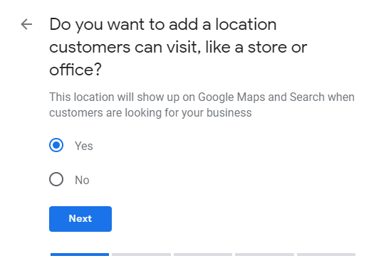Google My Business storefront