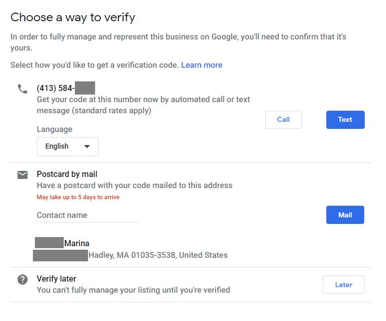 Google My Business verify steps