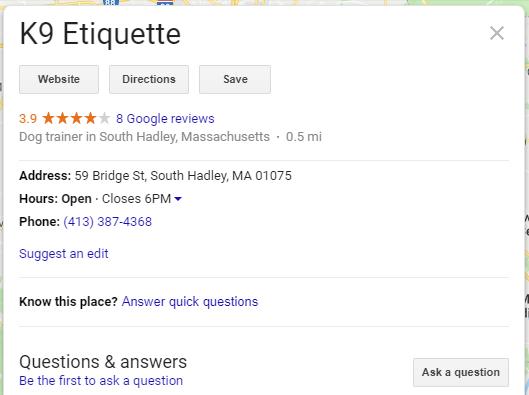 Google My Business dog trainer listing